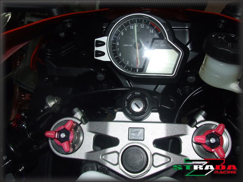 Strada 7 22mm CNC Front Fork Pre-load Adjusters Honda CBR600RR CBR1000RR Red
